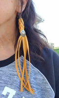 "BAHA BLING 9"" mustard Deerskin Leather Fringe Earrings"