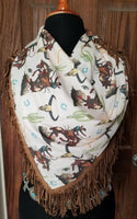 Giddy up Vintage Western Print Scarf with fringe