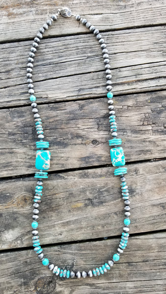 "The Quasar 32"" Turquoise & Jasper Stone Necklace"