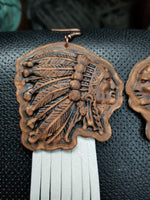 BAHA BLING Big  Chief Leather Fringe Earrings