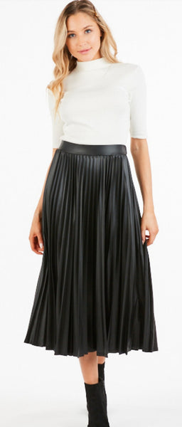 The Alondra Black Faux Leather Skirt