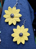 Sunflower Leather Earrings