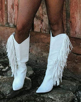 The Sinatra's White Fringe Boots