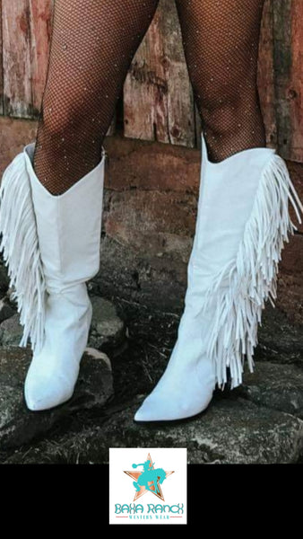 The Sinatra's  White Fringe Boots.