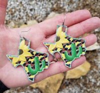Leather Texas Sunflower Cactus Earrings