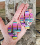 Leather Serape Cactus Earrings