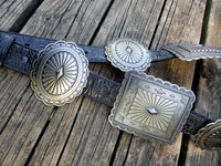 The Calhoun Tooled Leather Concho Belt