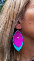 BAHA BLING Metallic Leather Earrings