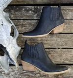 Black Booties with wood stacked heel