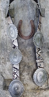 The Cripple Creek Snake Print Leather Concho Belt