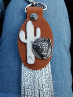 BAHA BLING Leather Buffalo Key Chain
