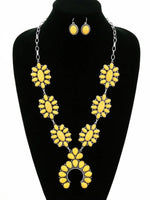 Yellow Rose of Texas Squash Blossom Necklace Set