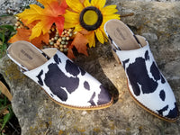 Cattle Queen Cow Print Mules Black/White