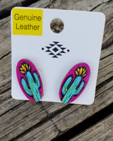 Mini Leather Cactus Earrings- Pink