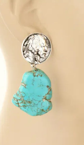 Indian Head Nickle Turquoise Slab Earrings  PRE ORDER ETA 10/31/20