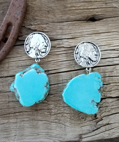 Indian Head Nickle Turquoise Slab Earrings