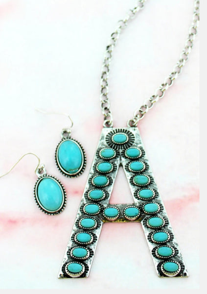 Turquoise Initial Necklace Set - Choose your Initial