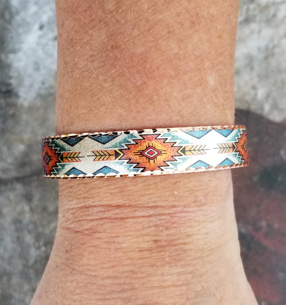 Copper Orange Aztec Bracelet