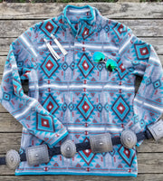 The Turquoise Trail Aztec Fleece Pullover