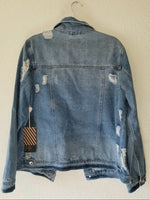 Distressed Denim Jacket size Large