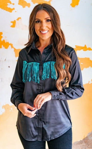 Rodeo Queen Sequin Fringe Satin Shirt