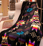 Black Aztec Sherpa Lined Throw