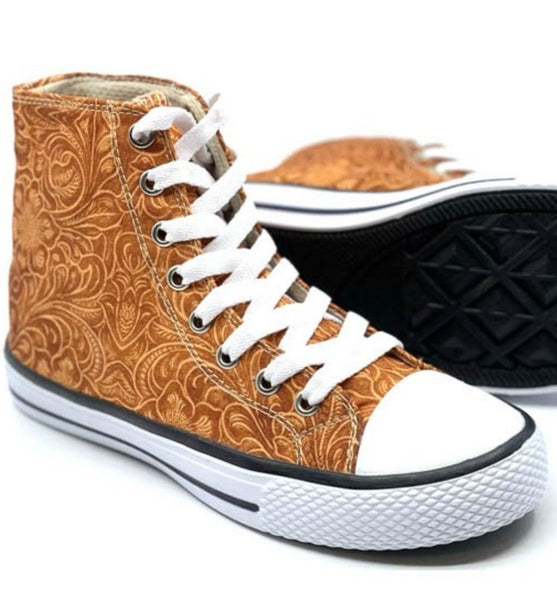 Shiloh Tooled Leather Print High Top Sneakers