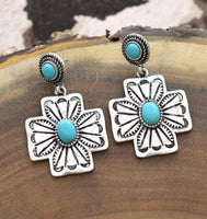 Turquoise Cross Concho Earrings