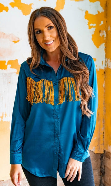 Ranch Rodeo Sequin Fringe Satin Shirt