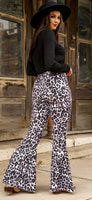 "White Leopard Denim Flares 33.5"" inseam"