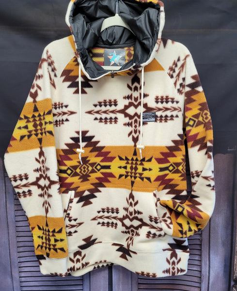 Gold Rush Aztec Hooded Fleece Pullover