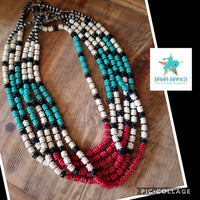 Native Turquoise, Red & Ivory Stone Necklace