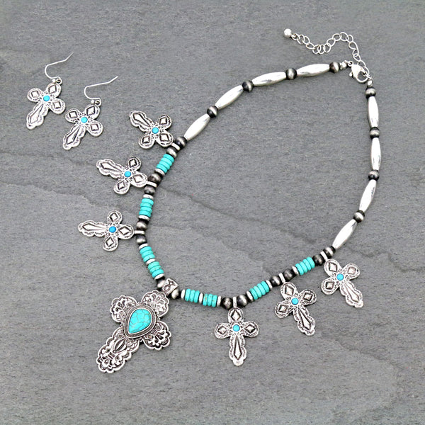 Southwestern Cross Necklace Set