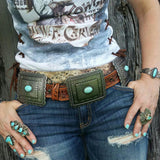 The Maverick Tooled Leather Concho Belt
