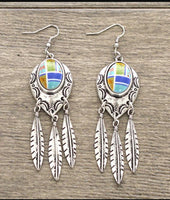 Three Feather Aztec Earrings