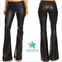 "Cash Black Faux Leather Bell Bottoms 34"" inseam"