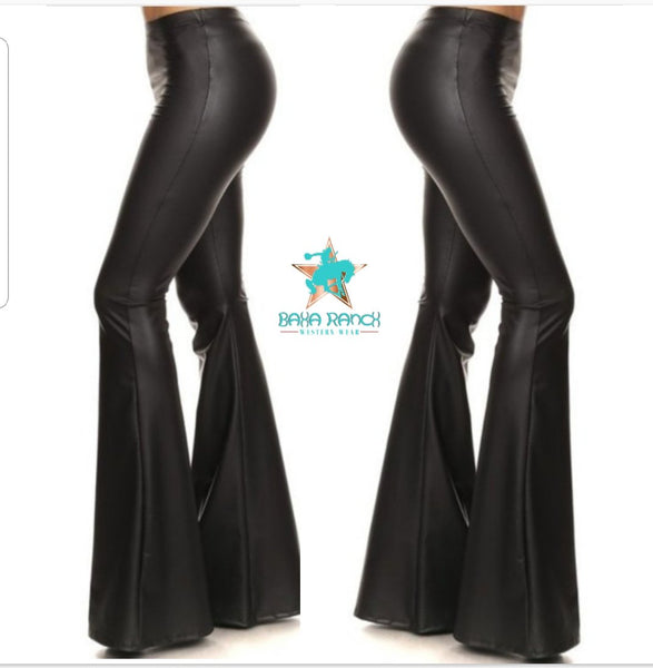 "Cash Black Faux Leather Bell Bottoms 34"" inseam PRE ORDER ETA 1/23/21"