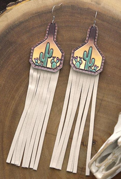 Cattle Tag Cactus Fringe Earrings PRE ORDER ETA 3/5/21