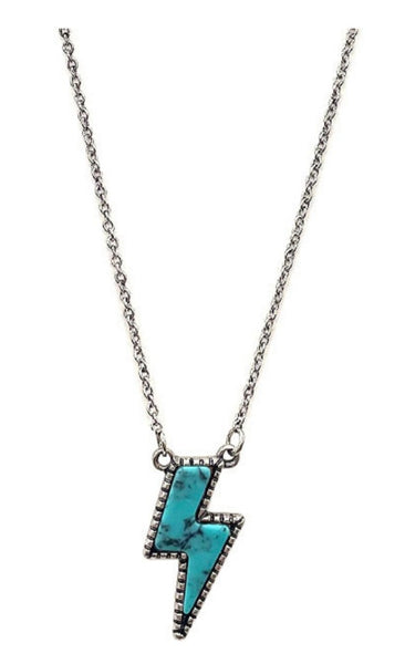 Lightning Bolt Necklace - Turquoise - PRE ORDER ETA 5/10/21