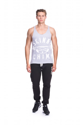 Classic Raw Cut Unisex Gym Vest- Grey White