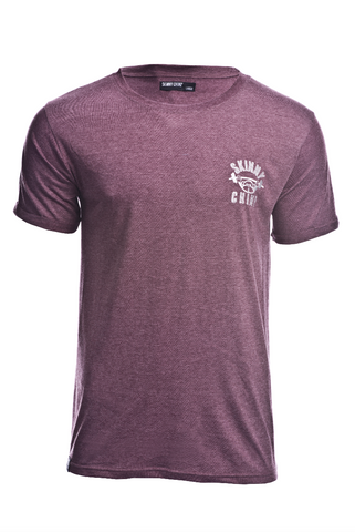 REGULAR FIT EMBROIDERED T-SHIRT - BURGUNDY