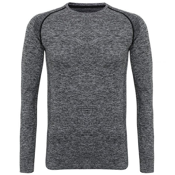Mens Long Sleeved Seamless Performance Top - Grey
