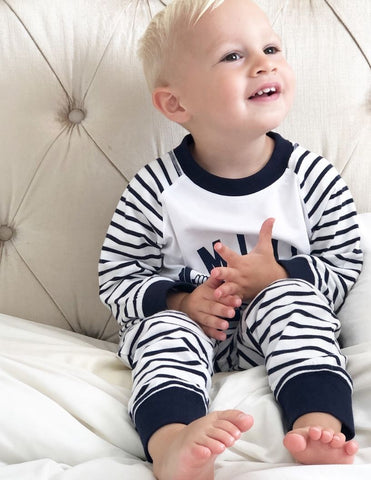 Mini Chimp Striped Pyjamas - Navy