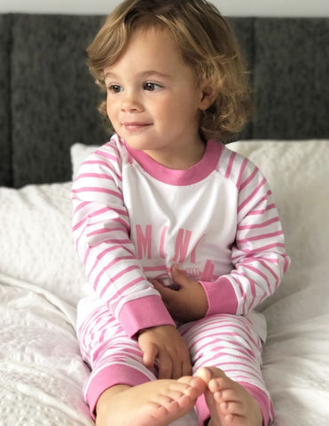 Mini Chimp Striped Pyjamas - Pink