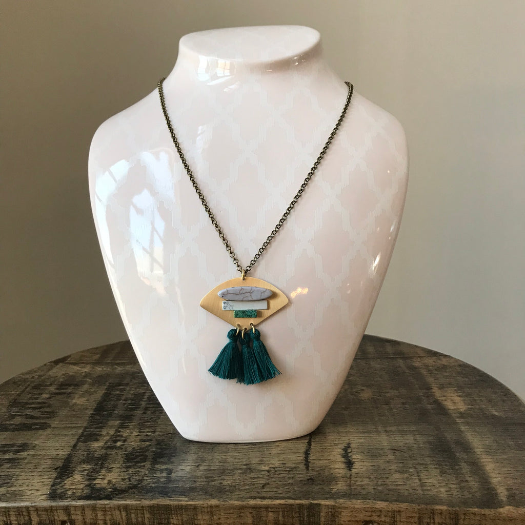 Magnesite Turquoise Teal Cotton Tassel Necklace
