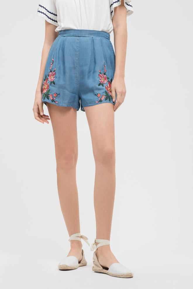 Chambray Embroidered Flower Shorts