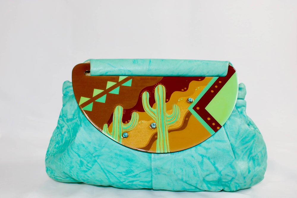 Vintage Turquoise Leather Moon Bag
