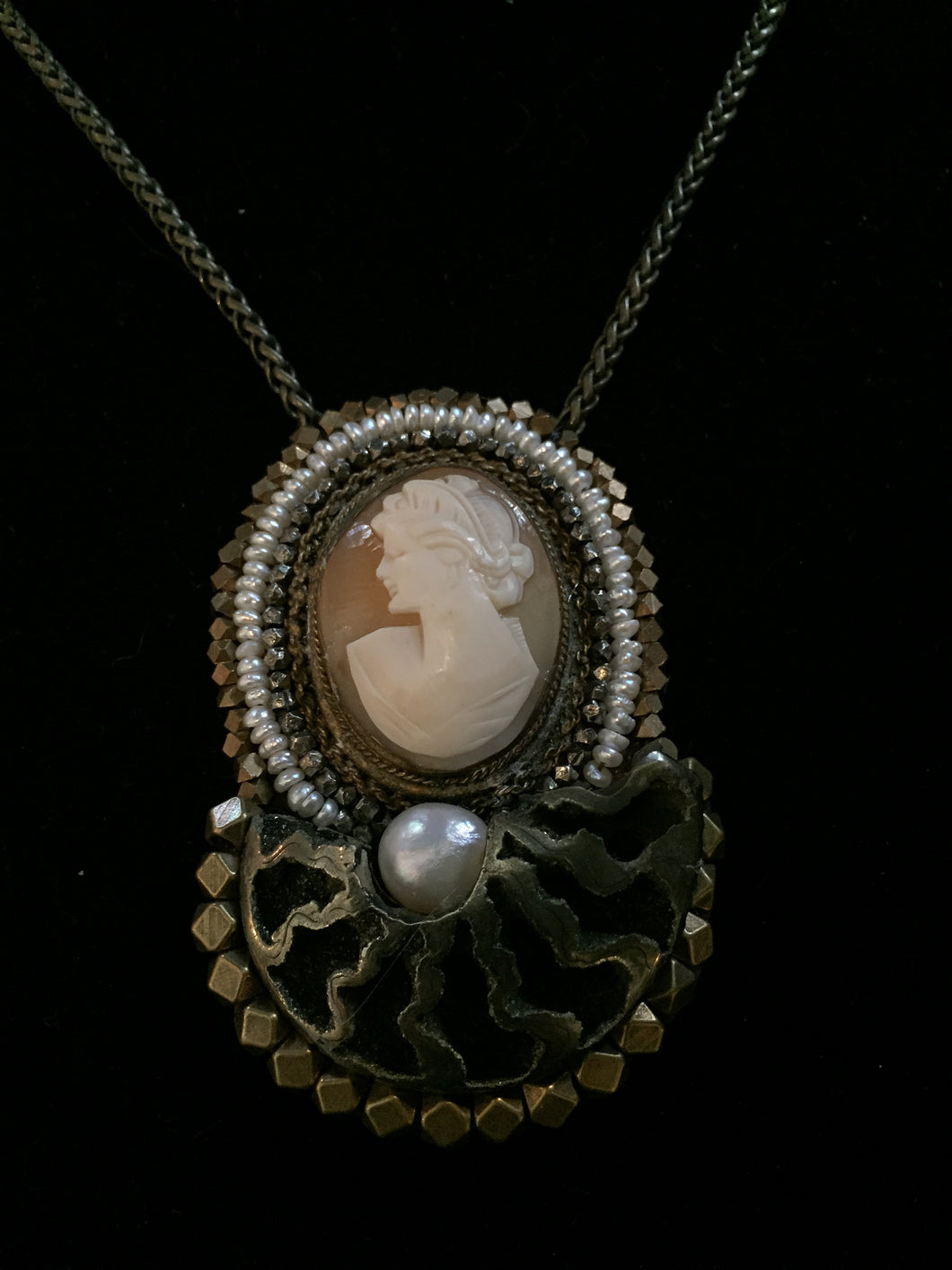 French Cameo Fossil Necklace