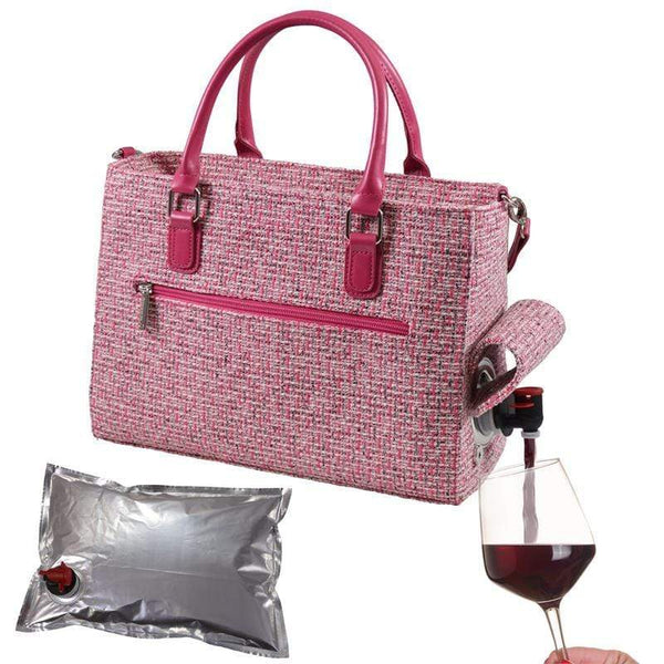 Accessories Winey Drink Purse in Pink Tweed WineyBitchesCo