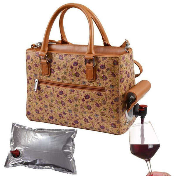 Accessories Winey Drink Purse in Purple Flower Cork WineyBitchesCo